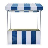 Blauw/witte luxe marktkraam (voor binnen en buitengebruik) Huren